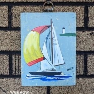 Vintage Hand Painted Sailboat Painting MCM